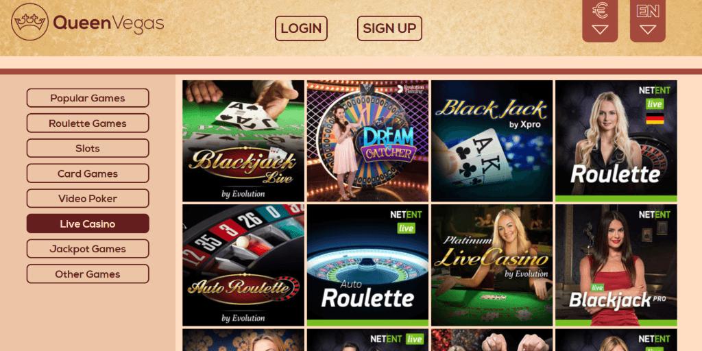 Spela live casino QueenVegas million
